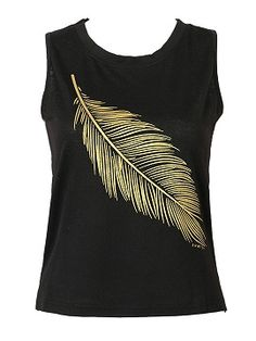 Shop Black Gilded Leather Pattern Dipped Hem Tank from choies.com .Free shipping Worldwide.$9.9