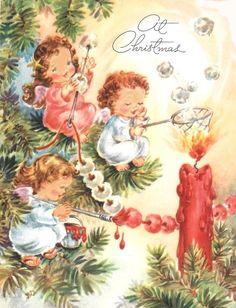 Vintage Christmas Card Angels Making Popcorn Garlands. $3.00, via Etsy.