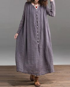 Gray  Loose fitting Maxi dress  Linen dress by prettyforest22