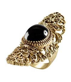 """$9.95 - h&m - large ring in elegant """"antiqued"""" metal with crackled stone"""