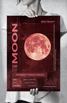 Moon Anomaly Party Big Music Poster Design PSD Big Music, Poster Templates, Moon, Graphic Design, Party, The Moon, Parties, Visual Communication