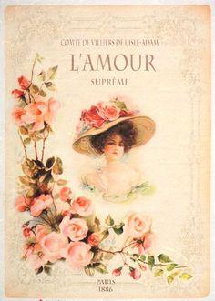 Rice Paper for Decoupage Decopatch Scrapbook Craft Sheet Vintage L amour Lady