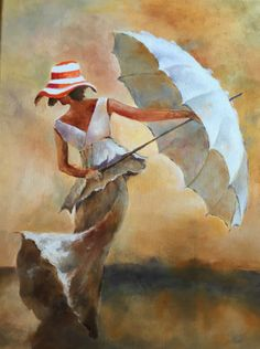 Rain painting, painting people, watercolor art, pictures to paint, art Rain Painting, Painting People, Umbrella Art, Pictures To Paint, Art Pictures, Figurative Art, Female Art, Illustration, Watercolor Paintings