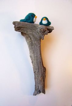 Needle Felted Birds on Tree Branch Home Decor Wall by kmwatkins, $50.00