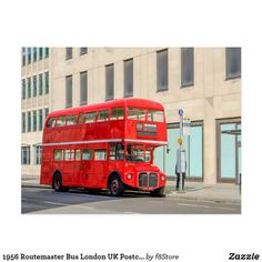 1956 Routemaster Bus London UK Postcard. #London #transport #red #bus #routemaster #uk #1956 #city #travel #photography #postcard