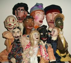 Folk Art hand carved puppet family.  Circa 1930?  Collection Jim Linderman