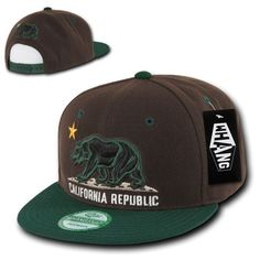 2f599a6145129 Brown   Green California Republic Flag Cali Bear Flat Snapback Snap Back  Cap Hat California Republic