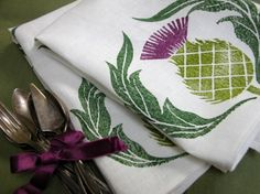 Scottish Thistle Dinner Napkins by giardino on Etsy, $40.00
