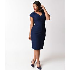 Plus Size Retro Style Navy Blue Marion Button Wiggle Dress (175 CAD) ❤ liked on Polyvore featuring plus size women's fashion, plus size clothing, plus size dresses, blue, short-sleeve dresses, plus size retro dresses, fitted dresses and pencil dress