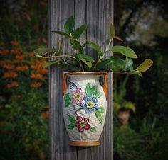 Antique Wall Pocket Vase Ceramic Pottery Handled Urn Basket   Etsy