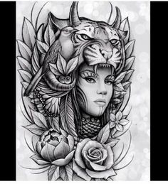 67 ideas for tattoo sleeve animal faces Trendy Tattoos, New Tattoos, Body Art Tattoos, Tattoos For Guys, Sleeve Tattoos, Tattoos For Women, Thigh Tattoos, Native Tattoos, Wolf Tattoos