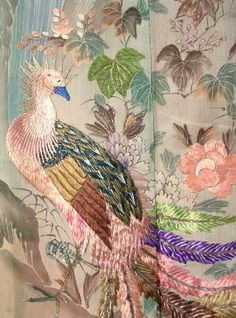 Japanese Embroidery Kimono Embroidery on antique Kimono. Embroidered Bird, Bird Embroidery, Japanese Embroidery, Silk Ribbon Embroidery, Embroidery Designs, Embroidery Stitches, Textiles, Paper Mulberry, Passementerie