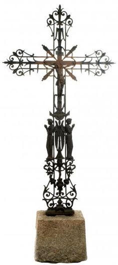A Monumental French Sculpted and Wrought Iron Crucifix c1890