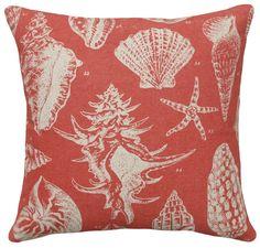 Red Sea Shell Linen Beach House Pillow