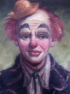 Vintage Clown Painting Oil on Canvas Wooden Frame by ShaginyAndTil
