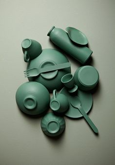 Prop Styling by Amanda Rodriguez: crockery spray painted green