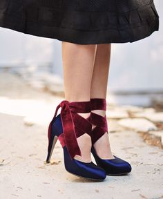 Velvet Ribbon Ankle Wrap Bow Heels DIY