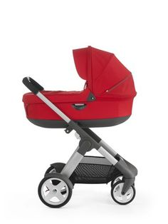 With Stokke® Stroller Carry Cot, Red.
