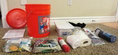 A 5 gallon bucket full of emergency supplies, ready to go & easy to transport.