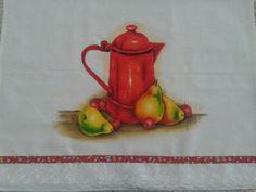 Pintura em tecido Bule e peras
