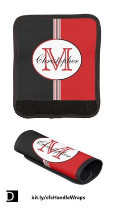 This stylish bag handle wrap features black, white, and red stripes topped with an oval containing a customizable name and initial. A matching luggage tag is also available. https://www.zazzle.com/black_and_red_stripes_monogram_handle_wrap-256000953502319202?rf=238083504576446517&tc=20170605_pint_SSOZ #StudioDalio personalized monogram travel accessories Zazzle