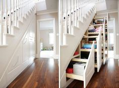 Sliding under-stair storage-genius! daphsmum Sliding under-stair storage-genius! Sliding under-stair storage-genius! Style At Home, Stair Storage, Staircase Storage, Hidden Storage, Extra Storage, Stair Drawers, Secret Storage, Storage Drawers, Stair Shelves