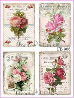 ~ Shabby Chic Vintage French Pink Roses 4 Prints on Fabric Quilting FB 104 ~ Vintage Tags, Shabby Vintage, Vintage Labels, Vintage Roses, French Vintage, Hand Quilting Patterns, Quilting Designs, Quilting Fabric, Decoupage Vintage