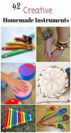 These homemade musical instruments for kids are awesome! Great DIY music instrum… These homemade musical instruments for kids are awesome! Great DIY music instruments for preschoolers and kids – love music activities for children! Instrument Craft, Homemade Musical Instruments, Making Musical Instruments, Baby Instruments, Projects For Kids, Diy For Kids, Crafts For Kids, Art Projects, Kids Fun