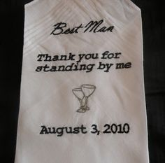 Embroidered Personalized Best Man keepsake Hanky by tlea on Etsy, $20.00