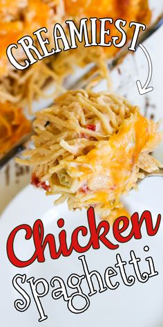 Chicken spaghetti is a southern classic! Gooey cheese, tender pasta, and juicy chicken are baked together in an easy sauce with just a hint of hot. Famiy friendly and you can make it ahead! #recipe #casserole #cheesy #rotel Classic Chicken Spaghetti Recipe, Chicken Spaghetti Casserole, Chicken Spaghetti Recipes, Easy Cooking, Cooking Recipes, Pasta Recipes, Easy Family Dinners, Easy Casserole Recipes, Creamy Chicken