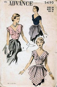 Vintage sewing pattern: 1950s hostess blouse and apron | Flickr - Photo Sharing!