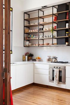 New Kitchen Shelves Metal Interior Design Ideas Diy Kitchen Shelves, Home Decor Kitchen, Interior Design Kitchen, Home Kitchens, Kitchen Ideas, Farmhouse Kitchens, Kitchen Storage, Diy Cabinets, Kitchen Cabinets