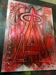 Buy one similar Faux Steel Metal Pop Art Painting LA L.A. Los Angeles ANGELS Baseball Custom Foil Metal Tape Art Ready To Hang