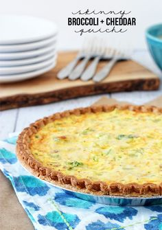 Skinny Broccoli and Cheddar Quiche.  A mouthwatering weight watchers recipe that is only 5 points per serving!  Recipe at livelaughrowe.com #quiche #weightwatchers