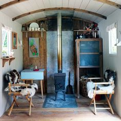 Amazing Converted Train Car Home Design, Van Design, Shabby Chic Living Room,  Shabby Chic