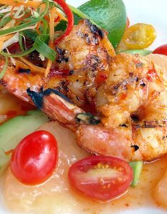 Grilled Shrimp Skewers with Tomato, Grapefruit, & Avocado _ Oaxacan-Style Hot Grilled Mexican Shrimp Recipes
