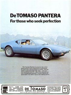 De Tomaso Pantera vintage Ad                                        The model we're working on will be ready very soon, #ItalianDesign and #AmericanHorses combined with style visit us : kustomsignature.com
