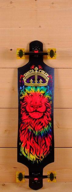 "Santa Cruz Prebuilt 40"" Rasta Tie Dye Lion God Drop Thru Cruz Control Longboard"