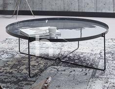 Table basse ronde design grise FLORANE