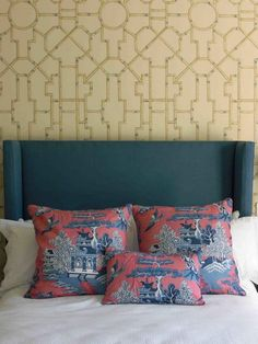Modern chinoiserie, bamboo geometric wallpaper, chinoiserie pink and blue scatter cushions