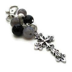 Purse Charm Bag Charm Cross with Gemstones Grey and by adiencrafts