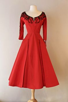 1950's red silk faille cocktail by Sophie Gimbel.