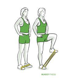 Elevación de pierna con banda elástica