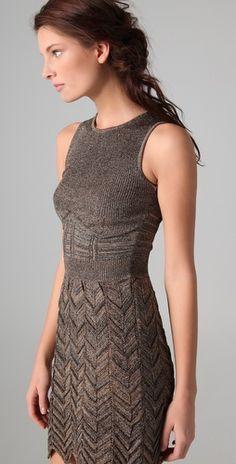 M Missoni; Space dye chevron knit dress.