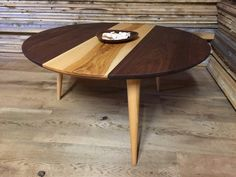 mid century american - - round coffee table with inset tiles