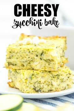 Cheesy Zucchini Bake - This easy cheesy casserole is a great way to make use of a bumper crop of garden zucchini! It makes a great side dish, or a vegetarian main, served with a light, crisp salad. Best Vegetarian Recipes, Vegan Recipes Easy, Real Food Recipes, Cooking Recipes, Cheesy Zucchini Bake, My Favorite Food, Favorite Recipes, Veggie Dishes, Side Dishes