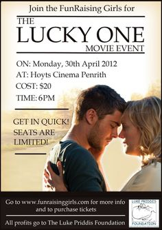 The FunRaising Girls latest Movie Event - The Lucky One - all profits go to The Luke Priddis Foundation - supporting kids with Autism!