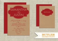 Modern Frame Kraft Paper Wedding Invitation by butlerpaperandprint, $3.00