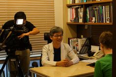 Man Koon Suh, M.D., having interview with a reporter of BBC, Lucy Williamson, about the Korean beauty trends.