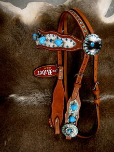HORSE BRIDLE WESTERN LEATHER HEADSTALL AQUA TURQUOISE CRYSTALS BLING RODEO TACK